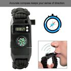 Outdoor Paracord Bracelet Compass Whistle LED Light Survival Tool For Hiking SOS