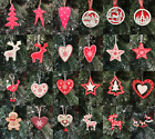 Wooden Red White Hanging Christmas Tree Decoration Xmas Decorations