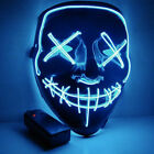 Halloween LED Glow Mask 3-Modes EL Wire Light Up The Purge Costume Party CA FAST