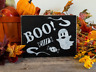 "Rustic ""BOO!"" Wood Sign Halloween Ghost and Candy Great for wreath and more"