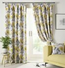 PAINTED-STYLE FLORAL FLOWERS OCHRE YELLOW LINED PENCIL PLEAT CURTAINS 9 SIZES