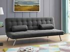 Fabric Sofa Bed Charcoal Beige Teal with Bolster Cushions Cubed Design Sofabed