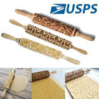 Wooden Rolling Pin Carved Wood Embossing Pattern Gift Kitchen Tool