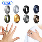 8 Pcs LOT Men Women Silicone Wedding Engagement Ring Rubber Band Flexible Sports