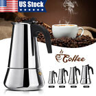 Stainless Steel Moka Espresso Coffee Pot Maker Percolator Stovetop 2/4/6/9 cup