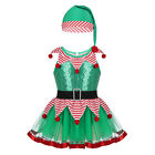 US Child Girls Christmas Costume Baby Elf Santa Helper Fancy Dress Party Outfit