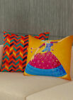 Home Decor Zig Zag & Dancing Women Cushioncover Set Of 2pcs Sofa Couch Cover