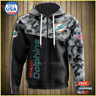 FREESHIP 3D HOODIE Men's Miami Dolphins Military Hoodies 3D Sweatshirt From USA $50.99 USD on eBay