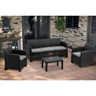 Mcombo 6pcs Patio Outdoor Furniture Set Plastic Charcoal Wicker Pattern Sofa 800