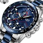 Mens LIGE Watch Pro Blue Diver Dial Quartz Stainless Steel Bracelet Watches