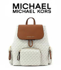 MICHAEL KORS ABBEY LARGE CARGO Backpack ONLY or Wristlet SET- VANILLA ACORN PVC