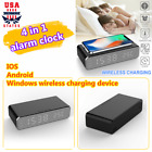 Electric LED Alarm Clock With Phone Wireless Charger Desktop Digital iOS/Android