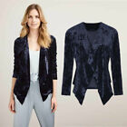 AVON Ladies Womens Purple Velour Waterfall Jacket Cardigan Open Front Size 18 20