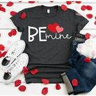 Woman Short Sleeve T-shirt Be Mine Letter Heart Printed O Neck T-shirt S-2XL