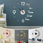Modern DIY Large Wall Clock 3D Mirror Surface Sticker Home Decor Art Design Kit