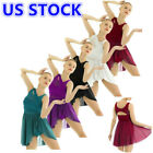 US Women Adult Lyrical Chiffon Ballet Dance Dress Contemporary Leotard Dancewear