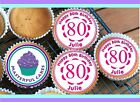 24 PERSONALISED 80th BIRTHDAY PINK DES CUPCAKE TOPPER RICE,WAFER,ICING & PRECUT