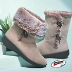 AVON Ladies Womens Warm Faux Suede Fur Lined Ankle Boots Snow Winter Flat Size 6
