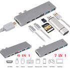 6/ 7 in1 USB-C Hub Dual Adapter Multiport Card Reader 4K HDMI Type-C For MacBook