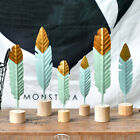 DI- CO_ Nordic Modern Metal Wooden Feather Pen Sculpture Home Table Ornament Nov image