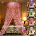 US 5Colors LED Princess Dome Lace Mosquito Net Bed Canopy Netting Fly Protect  image