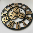 40cm/45cm Wall Clock 3D vintage Big Gear Wooden Rustic Decorative Luxury Gold