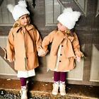 Kids Baby Girl Winter Warm Wool Bowknot Trench Coat Overcoat Outwear Jacket USA