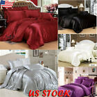 Ice Silk Soft Satin King Queen Twin Size Quilt Cover Sets Bed Sheets Bedspreads image