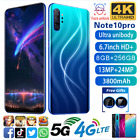 Android 10.0 Note10 Pro 6.7'' Full Frop Screen 8+256gb Smart Mobile Phone Au