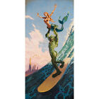 Made in Heaven by Damian Fulton Surfer Monster Mermaid Lowbrow Canvas Art Print