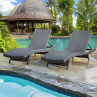 Outdoor Wicker Lounge Chaise Patio Furniture Rattan Adjustable Chair 6082-LCBK