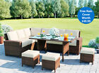 Luxury Garden Rattan Weave Furniture 9 Seater Dining Outdoor Table Sofa Set