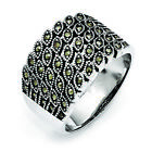 Chisel Stainless Steel Polished and Antiqued Marcasite Ring SR431 image