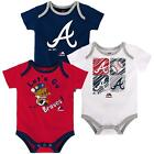 Atlanta Braves 3 Piece Baby Creeper Set Infant Romper New with Small Stain