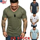 Mens Plain Short Sleeve Muscle Tops Summer Casual O Neck Slim Fit T-shirt Blouse image