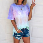 Womens Tie Dye Blouse Ladies Summer Short Sleeve Tops Casual Loose Tunic T-Shirt