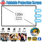 100/120Inch Projector Screen 16:9 Home Cinema In/Outdoor Movie Manual Projection