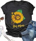 Dog Mom Shirt Tees for Women Letter Print Dog Lover Tees Sunflower Casual Short
