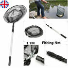 Folding Extending Fishing Net Landing Net Pole Handle 3 Section Telescopic Mesh