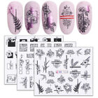 Wraps Black White Flowers Water Transfer Decal Green Leaves Nail Stickers