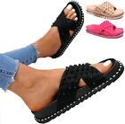 LADIES WOMENS FLAT SPIKE STUDS CHUNKY FLATFORM SLIP ON SLIDES SLIDERS SANDALS SZ