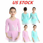US Girls Ballet Dance Gymnastics Dress Tulle Long Sleeves Sequins Leotard Skirts