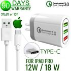 18W For iPad Pro 11, 12.9  Triple USB Wall Cube + Type C Data Sync-Charger cable