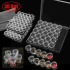 Clear Plastic 30 Slots Adjustable Jewelry Storage Box Case Craft Organizer Beads