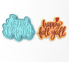Happy Fall Y'All Cookie Cutter & Stamp #2 | Halloween Fall Autumn Leaves Leaf