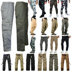 Mens Camo Tactical Combat Cargo Pants Camouflage Army Military Casual Trousers