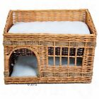 Cat Den Bed Woven Wicker Kitten Bed 2 Floors Scratch Basket Napping Cushion