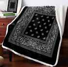 Bandana Pattern 3D Print Sherpa Blanket Sofa Couch Quilt Cover throw blanket