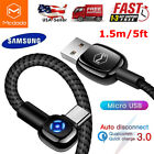 Micro USB Cable Android Charger Nylon Braided 90°Elbow Auto Disconnect Data Cord