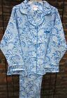 New 100 Cotton Women's Paisley Flannel PJ's Blue or Pink  X 2X 3X